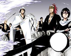 Byakuya Renji and Rukia Bleach Rukia Bleach, Renji Abarai, Pretending To Be Happy, Raw Manga, Friends Laughing, Close Encounters, Shinigami, Lost Soul, Shiro