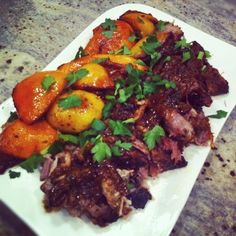 Slow roasted pork with citrus and garlic