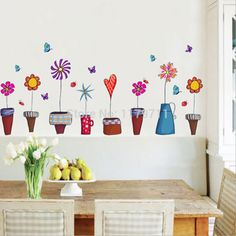 stair decals pot flowers wall stickers for kids rooms stickers $7.00 / piece AY947(China (Mainland))