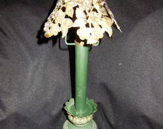Vintage Metal Candlestick Candle Holder Filigree Brass Cut work Shade