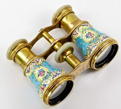 Superb Kiln-fired Enamel Opera Glasses French With Mother-Of-Pearl Eye Piece  c.1800's