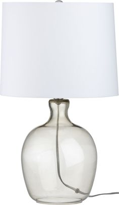Clarity Smoke Table Lamp  | Crate and Barrel Jess - had it in aqua in the store.  Not sure if will still be available.