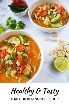 This healthy and easy Thai chicken noodle soup recipe is a guaranteed winner! Made in 20 minutes, this delicious soup with Thai red curry paste, chicken breast, noodles and veggies is the perfect weeknight dinner. Make it spicy or mild - it's your choice! Vegetarian Cooking, Vegetarian Recipes, Healthy Recipes, Thai Cooking, Broth Fondue Recipes, Soup Recipes, Pasta Recipes, Quick Weeknight Meals, Easy Healthy Dinners