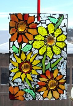 Flowers Mosaic WALL Art Panel window panel by HildeMosaics Mosaic Crafts, Mosaic Projects, Stained Glass Projects, Stained Glass Art, Mosaic Rocks, Stone Mosaic, Mosaic Glass, Mosaic Designs, Mosaic Patterns