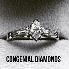 Stunning marquise engagement ring with tapered baguettes