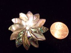 VINTAGE STERLING SILVER PINWHEEL ABALONE BROOCH SIGNED MEXICO A.R. 925