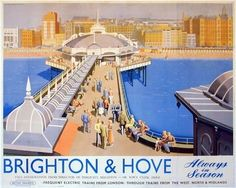 Vintage Tourism Poster - Brighton & Hove - always in season :) A4 Poster, Retro Poster, Poster Prints, Visit Brighton, Brighton And Hove, British Travel, British Seaside, British Isles, Posters Uk