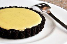 White Chocolate Vanilla Bean Tart with Chocolate Crust