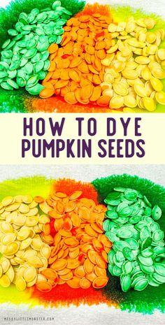 How to dye pumpkin seeds. Dyed pumpkin seed activities for kids. Pumpkin Seed Activities, Seed Activities For Kids, Pumpkin Seed Crafts, Acorn Crafts, Tree Crafts, Activity Ideas, Easy Fall Crafts, Crafts For Kids To Make, Kids Crafts