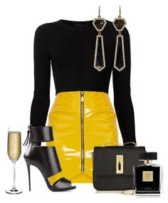 A fashion look from February 2018 featuring shirt top, vinyl skirt and high heel stilettos. Browse and shop related looks. Curvy Girl Outfits, Kpop Outfits, Casual Outfits, Fashion Outfits, Womens Fashion, Outing Outfit, Brunch Outfit, Long Sweater Outfits, Formal Casual