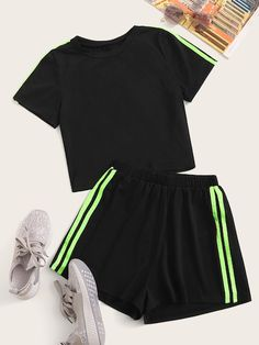 Shop Side Striped Tee With Shorts at ROMWE, discover more fashion styles online. Girls Fashion Clothes, Teen Fashion Outfits, Mode Outfits, Girl Fashion, Gothic Fashion, Cute Lazy Outfits, Crop Top Outfits, Trendy Outfits, Teenager Outfits