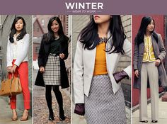 Winter Wear - red + white tweed, pine + wool squares, gray + burgundy accents, lady jacket + simple slacks