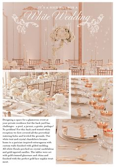 A tented white wedding at a private estate featuring custom French style walls.