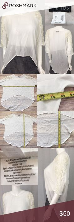 🍭XL Venus Crochet Shoulder Sheer Hi/Low Blouse Measurements are in photos. Normal wash wear, no flaws. E2  I do not comment to my buyers after purchases, do to their privacy. If you would like any reassurance after your purchase that I did receive your order, please feel free to comment on the listing and I will promptly respond. I ship everyday and I always package safely. Thanks! Venus Tops Blouses
