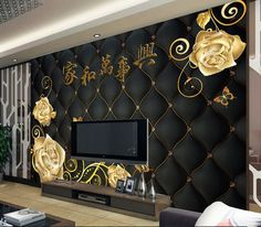 Details about Sitting room bedroom TV background Embossed orchid mural wallpaper in 2019 Wallpaper Decor, Home Wallpaper, Easy Home Decor, Home Decor Trends, Ceiling Design, Wall Design, Tv Wall Decor, Interior Design Boards, Tv In Bedroom
