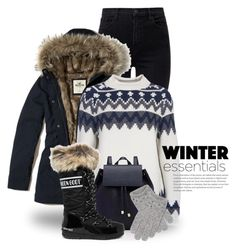 """""""Let it Snow! 4940"""" by boxthoughts ❤ liked on Polyvore featuring J Brand, Hollister Co., Barbour, Barneys New York, Moon Boot and Portolano"""