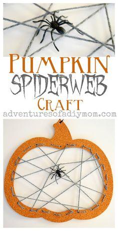 Easy Pumpkin Spiderweb Craft for Halloween