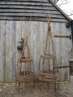 Items similar to Large Hazel garden obelisk - for climbing plants. Think they'd be great made from bamboo...