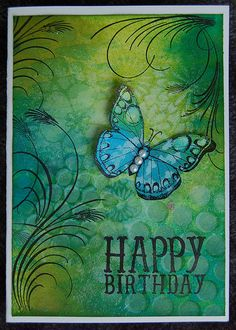 Birthday Dylusions ink spray, distress ink and templates. Stamps used are Hero Arts Stamps:Dylusions ink spray, distress ink and templates. Stamps used are Hero Arts Stamps: Handmade Birthday Cards, Greeting Cards Handmade, Handmade Greetings, Happy Birthday Greetings, Birthday Wishes, Birthday Quotes, Butterfly Cards, Green Butterfly, Card Tags