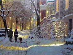Richard Savoie (Quebec) Une Balade sous la neige rue cherrier, Montreal
