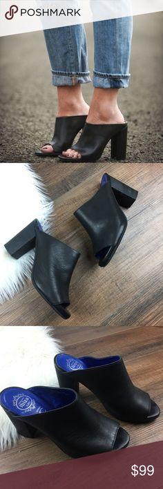 "Jeffrey Campbell Druid Peep Toe Mules Jeffrey Campbell Druid Peep Toe Blac Mules.  Approx 3.5"" heel height.  Great condition- slight wear on back of heel. Jeffrey Campbell Shoes Mules & Clogs"