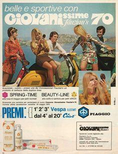 Giovanissime fazion's 70 contest, 1970 Vespa Girl, Scooter Girl, Vespa Lambretta, Vespa Scooters, Vintage Advertisements, Vintage Ads, Vespa Images, Classic Vespa, Old Commercials