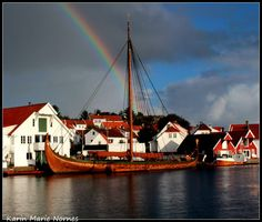 Vikingship to Skudeneshamn, Karmøy, Norway today. 20.09.12. My friend Karin Marie Nornes has taken this lovely photo with the rainbow over the ship. Lovely photo <3
