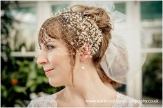 MALWA – gold filled birdcage veil with crystal sprays