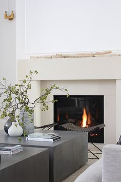 Dorable Minimalist Fireplace Minimalist Fireplace Our Sleek Minimalist Living Room The House Of Silver Lining Modern Houses Interior, Updating House, Contemporary Interior Design, Minimalist Living Room, Minimalist Fireplace, Home Decor, House Interior, Interior Design, Living Room Designs