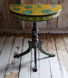 New to SissysFolkArt on Etsy: Buggy Sunflower Demilune Table USD) Demilune Table, Unique Jewelry, Outdoor Decor, Inspiration, Etsy, Vintage, Home Decor, Biblical Inspiration, Decoration Home