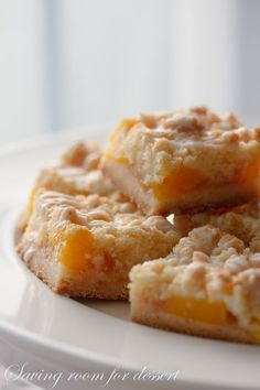 Fresh Peach Crumb Bars- This looks like a great recipe to cut in half and make for two people (to share with leftovers).