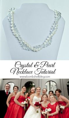 Crystal and Pearl Necklace Tutorial -- make this gorgeous necklace with this step by step picture tutorial.