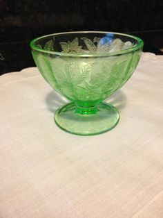 7188721346c8 Green Uranium Depression Glass Sherbet Dish. Vintage DishwareVintage Kitchen Vaseline ...