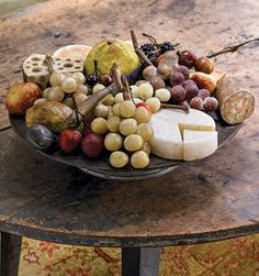 """Stone fruit is arranged on an """"anniversary"""" tin compote."""" Among the fruit are rare forms such as the brie, Swiss cheese, and salami (possibly unique), . Fruit Love, Primitive Furniture, Primitive Kitchen, Stone Fruit, Fruits And Vegetables, Fig, Serenity, Meal Prep, Colonial Decorating"""