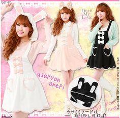 {Free Ship} Bunny Ear Hat Bow Tie Suspender Dress, Loving Heart Pocket