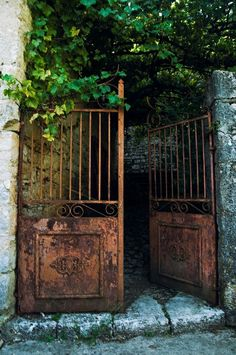 Lovely rusty garden gates - SO CHARACTERFUL! (How lovely to have a gate like this, as an entry to the garden! Old Gates, Iron Gates, Metal Gates, Iron Doors, Iron Garden Gates, Old Doors, Windows And Doors, Rusty Garden, Purple Home