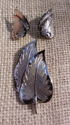 Silver Leaf Brooch Earring Set Botany Naturalist by TheArtisanal