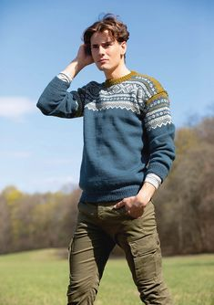 Ravelry: Nr 16 Marius pattern by Sandnes Garn Nordic Sweater, Men Sweater, Jumper Knitting Pattern, Fair Isle Knitting, Mens Jumpers, Knit Patterns, Knit Crochet, Indie, Pullover