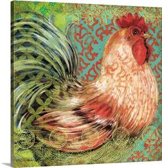 Bohemian Rooster on multi-colors
