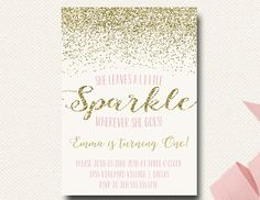 Pink and Gold Sparkle Birthday Invitation Blush by DesignOnPaper