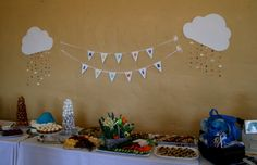 Baby shower cloud and raindrop sign/banner