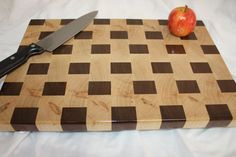 Hand crafted, All hard wood/Weaved Ambrosia Maple and Walnut End-Grain Cutting Board in Salad Bowl Finish. Gorgeous.