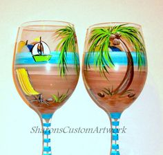 Hand Painted Wine Glasses Palm Trees Beach by SharonsCustomArtwork