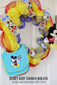 Mickey Mouse Disney Baby Shower Wreath Tutorial