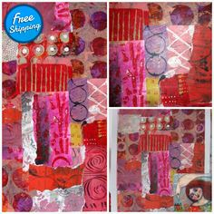 Abstract acrylic collage paper original mixed media art - Dance of the Fire Easter Paintings, Virtual Museum, Fluid Acrylics, Painted Paper, Mixed Media Painting, Shades Of Red, Expressionism, Abstract Pattern, Printmaking