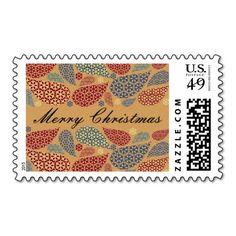 Snowflake Teardrops Christmas Postage Stamps