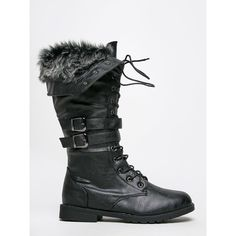 SHANGHAI WINTER-143 BOOT ($39) ❤ liked on Polyvore featuring shoes, boots, black, black fur boots, black combat boots, fold-over combat boots, military boots and black knee high boots