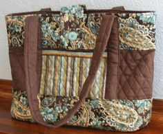 Quilted Fabric Bag/Purse  Brown/Blue/Gold by FindUrHappyPlace, $40.00