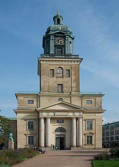 Göteborgs domkyrka från Domkyrkoplanen vid Västra Hamngatan