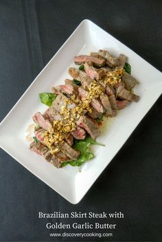 Brazil is one place where you can get some very good, but very simple meat dishes. This skirt steak with golden mushroom sauce is a fine example of that.
